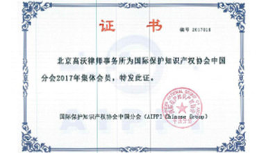 AIPPI(国际知识产权协会)会员证书